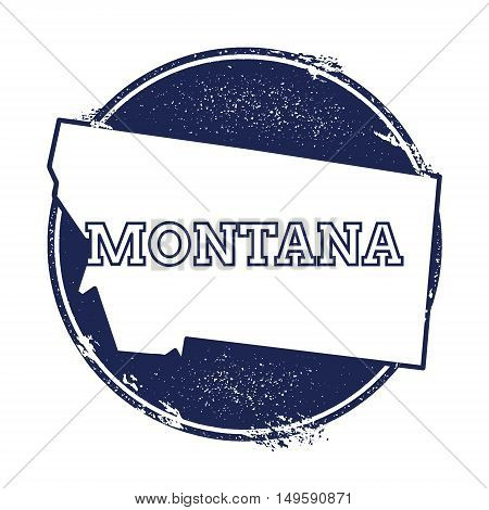 Montana Vector Map. Grunge Rubber Stamp With The Name And Map Of Montana, Vector Illustration. Can B