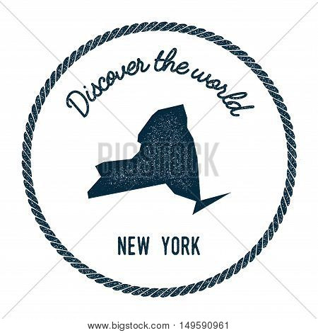 New York Map In Vintage Discover The World Rubber Stamp. Hipster Style Nautical Postage Stamp, With