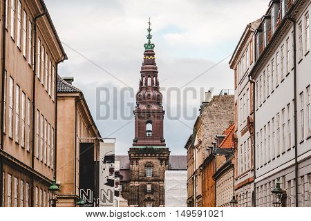 Copenhagen, Denmark - September, 21th, 2015. Christiansborg palace tower spire - famous landmark of danish capital and the seat of parliament place situated on Slotsholmen.