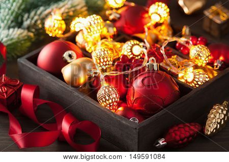 christmas gift and decoration in wooden box garland lantern