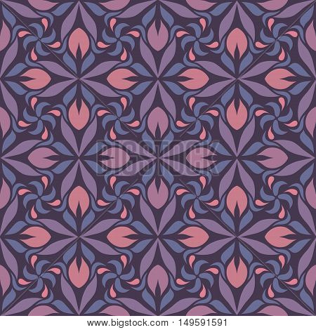 Seamless geometrical pattern. Abstract repeating background in blue, pink and purple.
