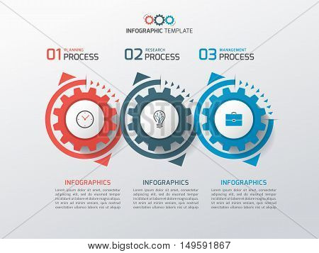 Business Infographic Template With Gears Cogwheels 3 Steps, Processes, Parts, Options. Vector Illust