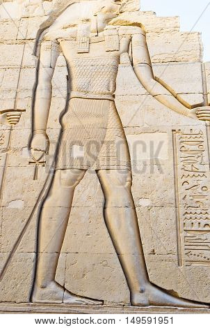 The giant relief of Horus in sanctuary of Kom Ombo Temple Egypt.