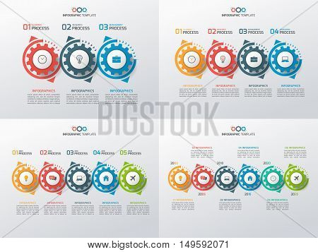 Set Of Business Infographic Templates With Rotating Gears 3-6 Steps, Processes, Parts, Options. Vect
