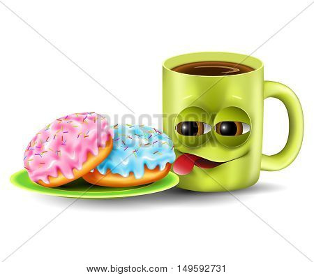 Funny coffee cup and donuts with colored glaze on a plate