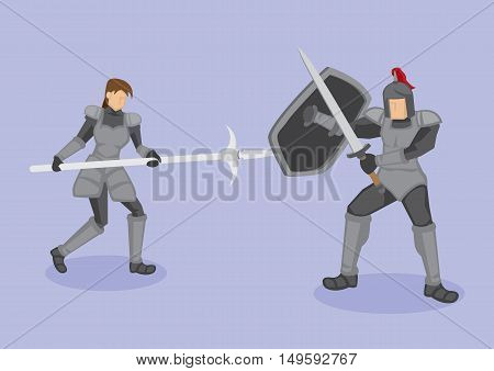 Vector illustration of medieval warriors in protective metal armor fighting with ancient weapons corseque shield and sword isolated on purple background.