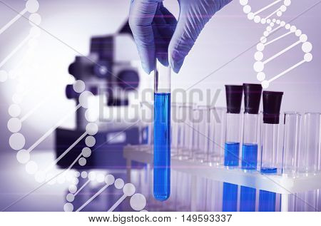 Scientist hand in glove with test tube at laboratory. DNA research technology concept.
