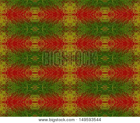 Abstract geometric seamless background. Regular scrolled ornaments red, green and gold, traditional Christmassy wrapping paper.