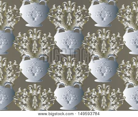 Baroque damask floral light vector seamless pattern background  illustration with vintage decorative medieval gold baroque flowers ornaments in white antique vase.Baroque flowers in vase.