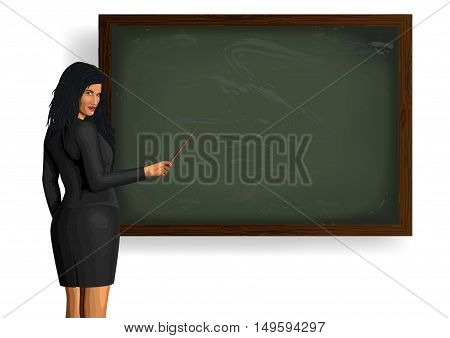 Beautiful girl woman teacher in business classic suit standing near blackboard with pointer fescue points in hand. Vector closeup horizontal view illustration pretty female isolated white background