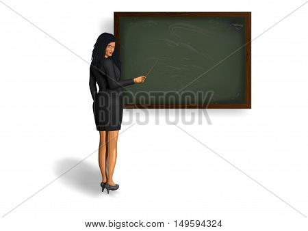 Beautiful girl woman teacher in nice glasses classic suit standing near blackboard pointer fescue points in hand. Vector closeup horizontal view illustration pretty female isolated white background