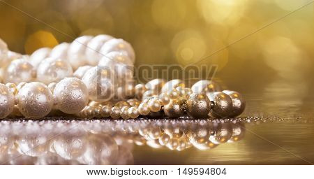 Website banner of Christmas gift jewelry - beautiful pearls and necklace with copy space
