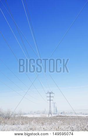 Winter Industrial Landscape High-voltage Lines.