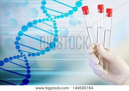 Scientist hand in glove with test tubes. DNA research technology concept.