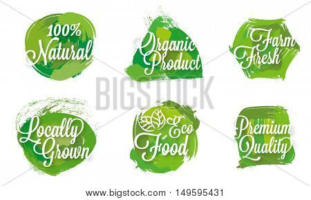 100% Natural, Eco Food, Farm Fresh or Organic products labels, stickers, badges or tags design set.