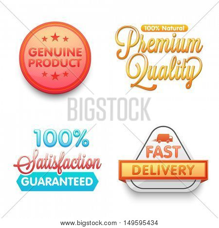 Creative stickers, tags or labels design on white background.