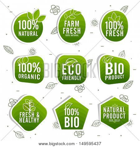 Set of Green Stickers, Tags or Labels design of Farm Fresh, 100% Natural, Eco Friendly, Bio and Organic Products or Foods, Creative typographic badges for Healthy Food concept.
