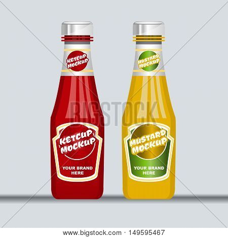 Digital vector red and brown ketchup and mustard plastic and glass bottle mockup, ready for your logo and design, flat style