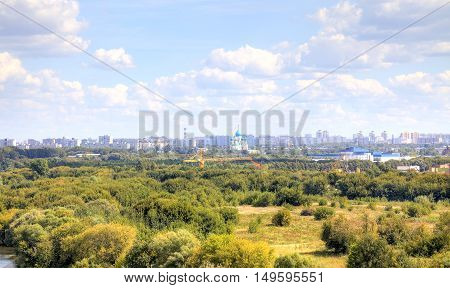 View of the off-shore park urban area Nagatinsky Zaton District. Moscow