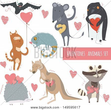 Valentine set of fun animals with hearts and flowers smiling cute with closed and open eyes. Vector kind illustration isolated on white