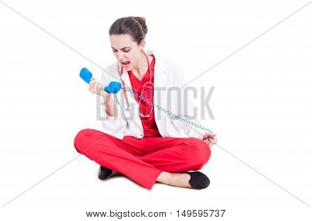 Angry Medic Woman Screaming On Telephone