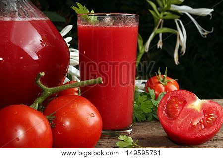 Jug and glass of tomato juice and fresh tomatoes on old wooden table against white flowers background. Rustic style