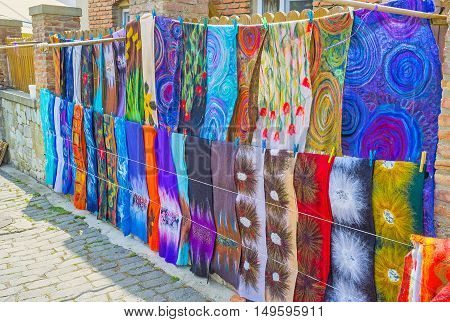 The colorful handmade scarves of silk and felted wool are the best gifts from Mtskheta Georgia.