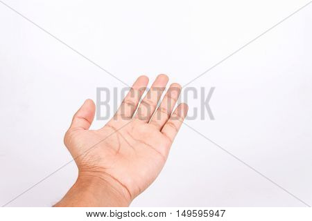 man teen hand to hold gadget isolated on white background