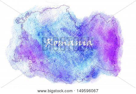 Romania vector watercolor map illustration set world