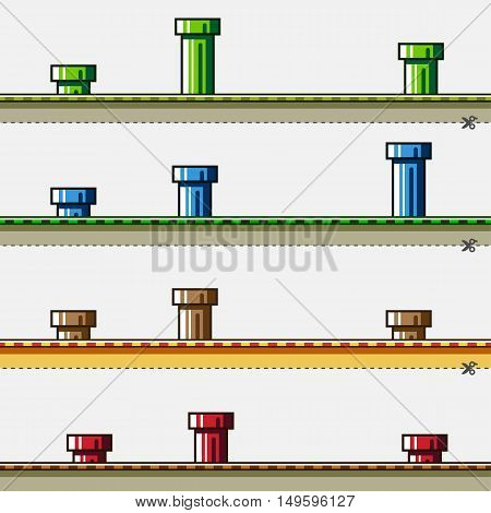 Colored backgrounds with pipes for creating video game