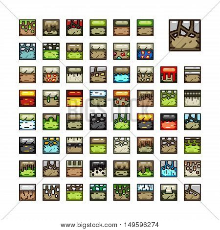 Big set of 2D ground tiles for creating video game