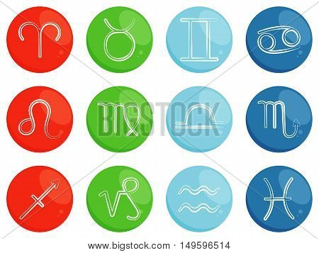 Vector zodiac signs. Symbols of horoscope. Zodiac signs sorted by four elements: fire, earth, air, water. Astrological symbols