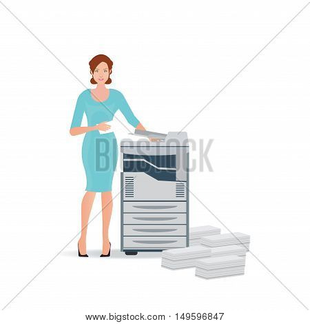 Business woman using copy machine or printing machine with stacked pile of file documents vector illustration.