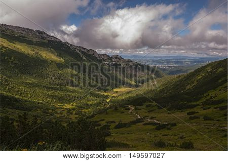 A beautiful view of the mountain valley. Tatry