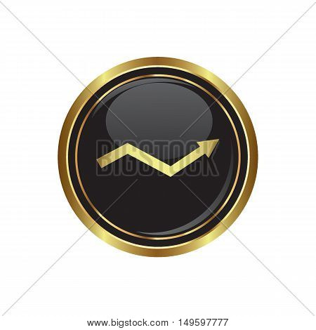 Business graph icon on the button. Vector illustration