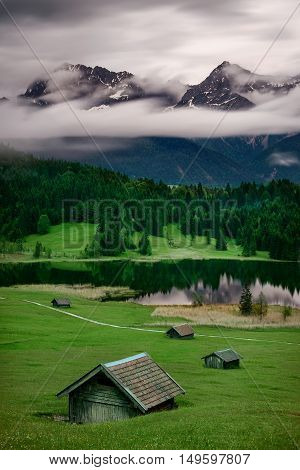 Geroldsee Lake During Summer Rainy Day, Bavarian Alps, Bavaria, Germany. Beautiful Heavy Cloud Motio