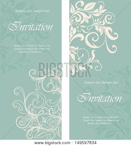Invitation or greeting floral cards set. Background. Vector illustration