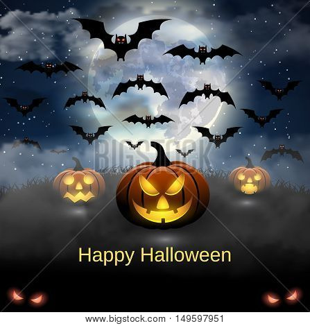 Spooky card for Halloween. blue background with full moon and bats. Halloween Party with pumpkins. Vector Illustration.