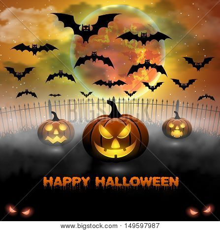 Spooky card for Halloween. orange background with full moon and bats. Halloween Party with pumpkins. Vector Illustration.