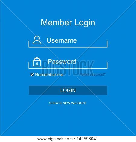 Login form menu with simple line icons. background Website element for your web design. Vector illustration.