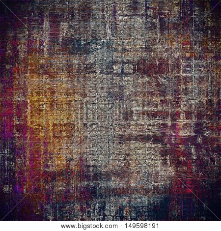Old style design, textured grunge background with different color patterns: yellow (beige); brown; red (orange); purple (violet); black