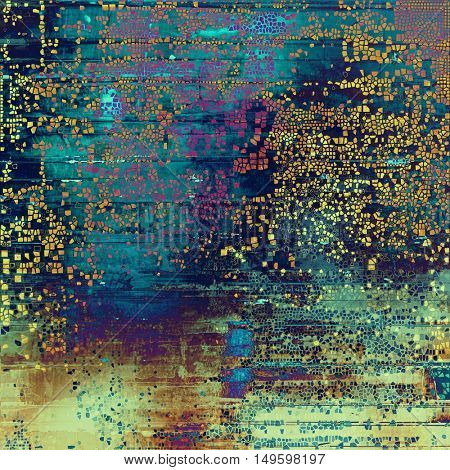Old style decorative composition or designed vintage template with textured grunge elements and different color patterns: yellow (beige); brown; blue; red (orange); purple (violet); cyan