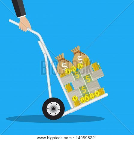Business man with a hand truck full of money and coins. vector illustration in flat style on blue background