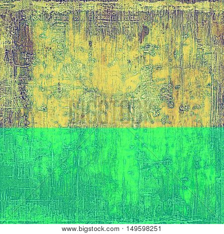 Vintage old-style texture, worn and rough grunge background with different color patterns: yellow (beige); brown; gray; green; purple (violet)