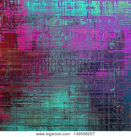 Vintage torn texture or stylish grunge background with ancient design elements and different color patterns: blue; red (orange); purple (violet); pink