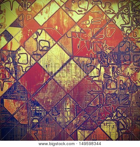Geometric old background with grunge decorative elements. Retro composition for your design. With different color patterns: yellow (beige); brown; blue; red (orange); purple (violet)