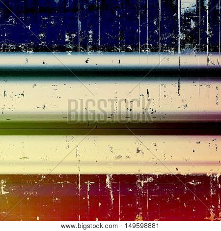Highly detailed scratched texture, aged grungy background. Vintage style composition with different color patterns: yellow (beige); brown; green; blue; red (orange); pink
