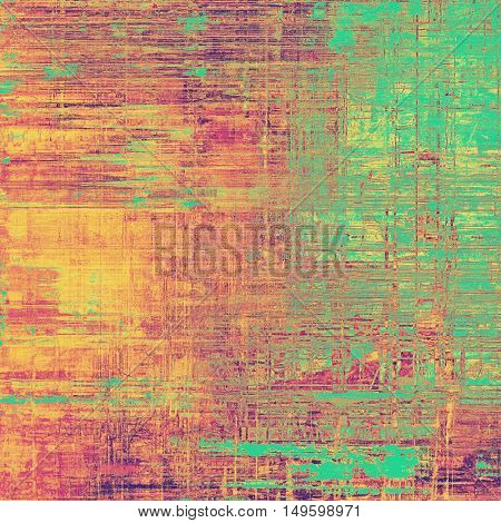 Oldest vintage background in grunge style. Ancient texture with different color patterns: yellow (beige); green; red (orange); purple (violet); pink