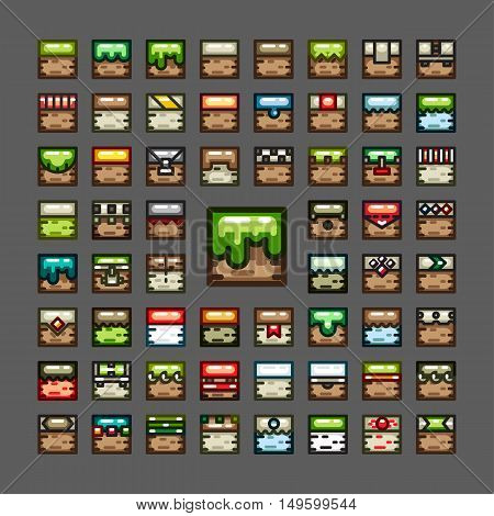 Thick line tiles for creating video game set 2