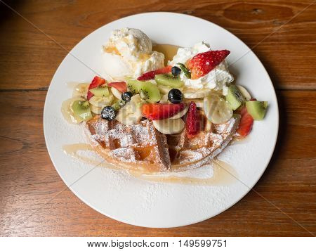 Mixed Fruits Waffle With Ice Cream